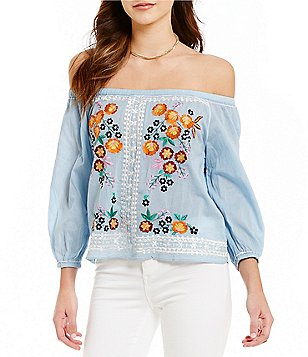 Chelsea & Violet Off-the-Shoulder Long Sleeve Embroidered Top
