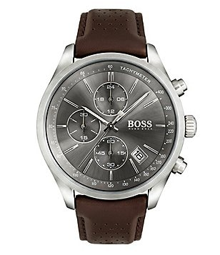 BOSS Hugo Boss Grand Prix Chronograph & Date Perforated Leather-Strap Watch