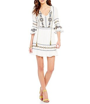 Chelsea & Violet Crew Neck Bell Sleeve Embroidered Gauze Dress