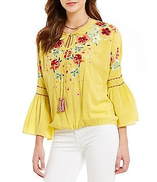 Chelsea & Violet Split V-Neck Bell Sleeve Embroidered Top