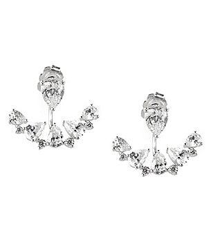 Nadri Talia Cubic Zirconia Fan Front/Back Earrings