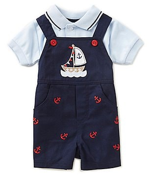 Starting Out Baby Boys Newborn-24 Months Short-Sleeve Polo Shirt & Sailboat Embroidered Shortall