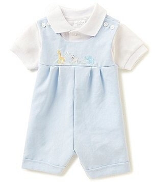 Starting Out Baby Boys Newborn-9 Months Short-Sleeve Polo Shirt & Duck Embroidered Lined Shortall