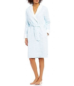 iRelax Printed Waffle-Knit Shawl-Collar Wrap Robe
