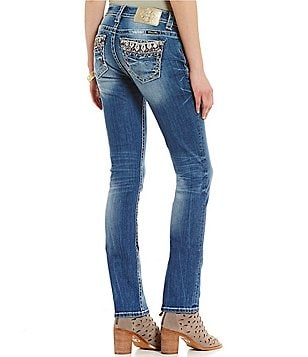Miss Me Glitz Embellished Pocket Stretch Straight-Leg Jeans