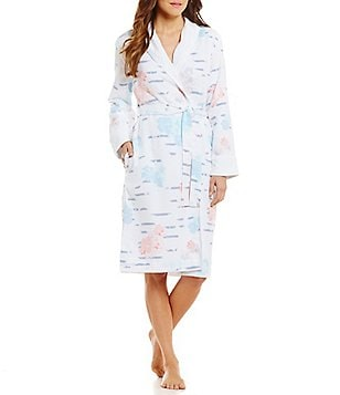 iRelax Abstract Floral & Striped Waffle-Knit Shawl-Collar Wrap Robe
