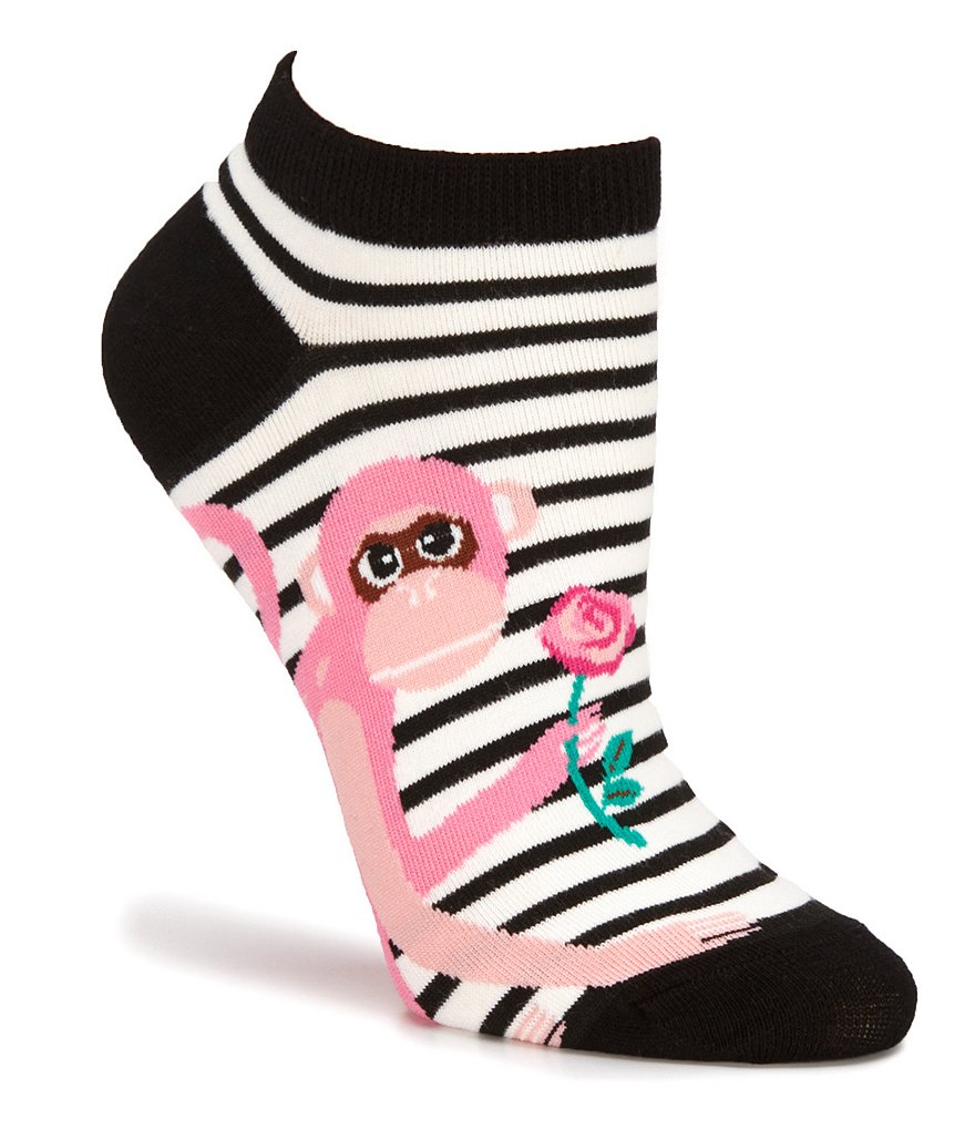 kate spade new york Striped Monkey with Rose No-Show Socks