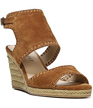 Via Spiga Izett Suede Ankle Strap Espadrille Wedge Sandals