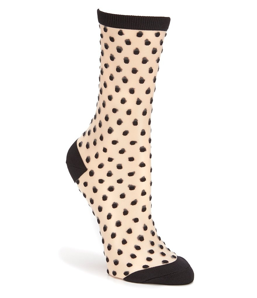 kate spade new york Dotted Sheer Crew Trouser Socks