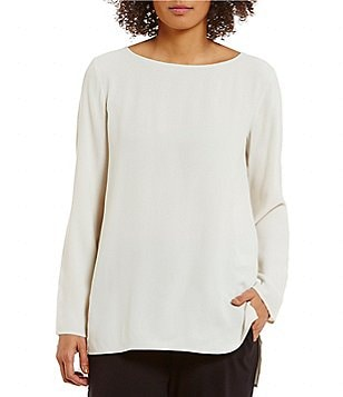 Eileen Fisher Bateau Neck Georgette Crepe Top