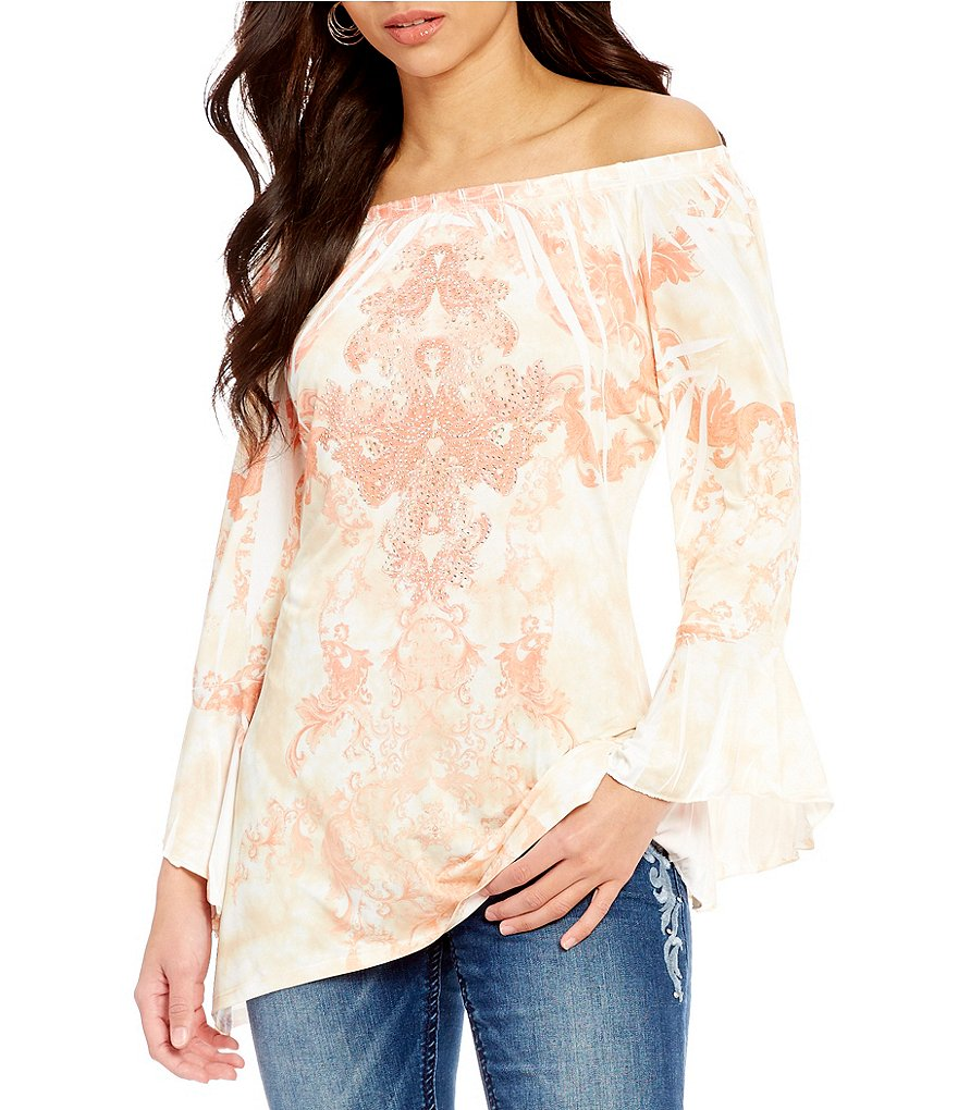 Reba Shades of Spring Collection On/Off-the-Shoulder Bell Sleeve Printed Knit
