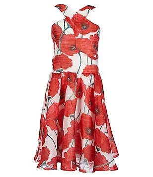Miss Behave Big Girls 8-16 Winona Floral-Print Cross Neck Sleeveless Skater Dress
