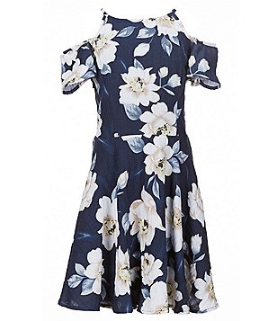 Miss Behave Big Girls 8-16 Bella Cold-Shoulder Floral Skater Dress