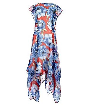 Miss Behave Big Girls 8-16 Diana Floral-Print Ruffle Handkerchief Hem Dress