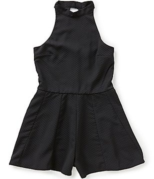 Miss Behave Big Girls 8-16 Safira Open-Back Challis Halter Neck Romper
