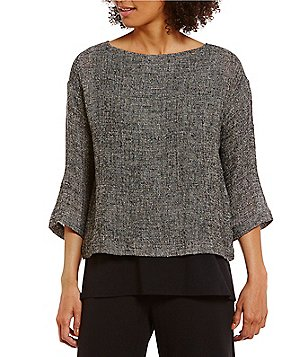 Eileen Fisher Round Neck 3/4 Sleeve Box-Top