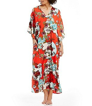 N by Natori Blossoming Fans Satin Caftan