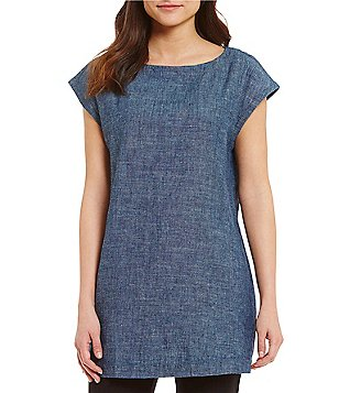 Eileen Fisher Bateau Neck Cap Sleeve Tunic