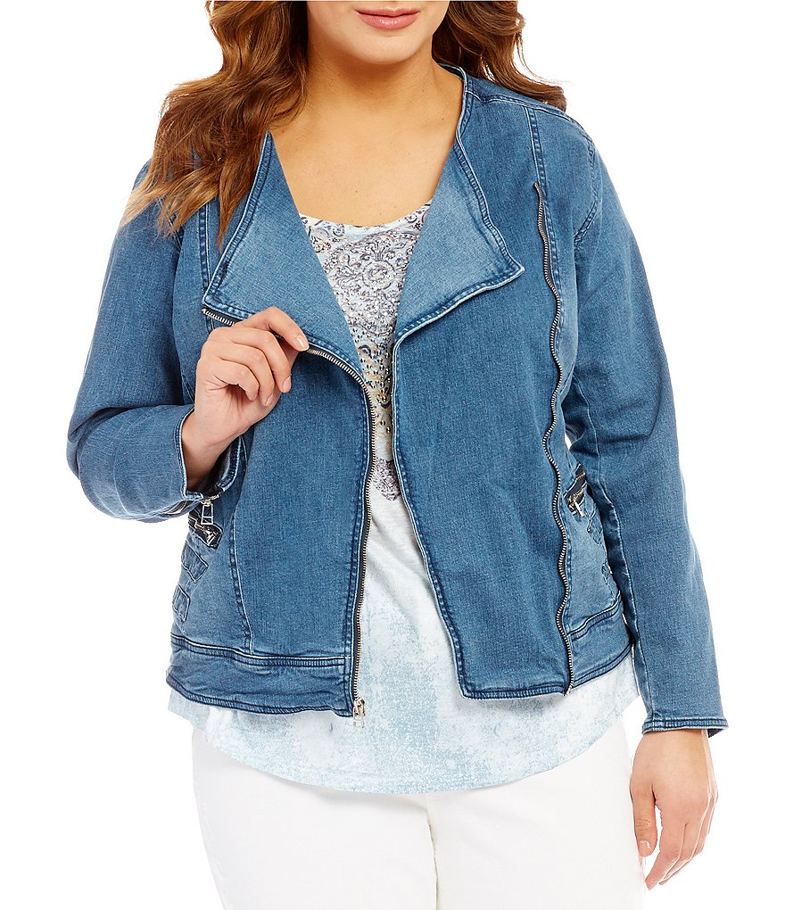 Reba Plus Moto/Biker Denim Jacket