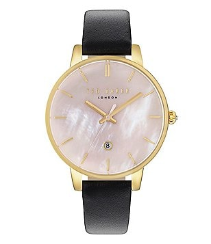 Ted Baker London Kate Mother-of-Pearl Analog & Date Leather-Strap Watch