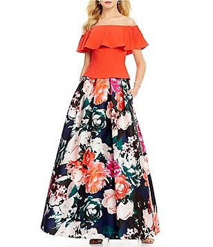 Eliza J Off-the-Shoulder Ruffle Top & Floral Ball Skirt