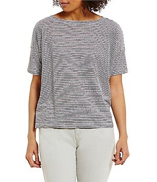 Eileen Fisher Petites Bateau Neck Striped Short-Sleeve Box-Top