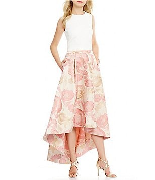 Eliza J Scuba Crop Top & Floral Jacquard Hi-Low Skirt