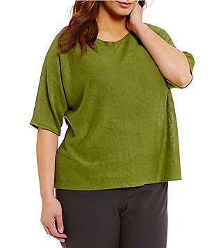 Eileen Fisher Plus Bateau Neck Elbow Sleeve Box-Top