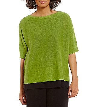 Eileen Fisher Petites Bateau Neck Elbow Sleeve Box-Top
