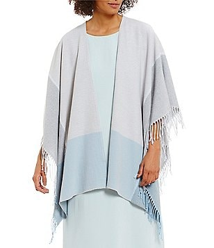Eileen Fisher Fringed Asymmetrical Ombré Serape
