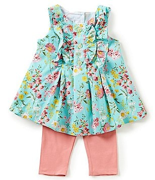 Pippa & Julie Little Girls 2T-6X Floral-Print Ruffle Top & Solid Leggings Set