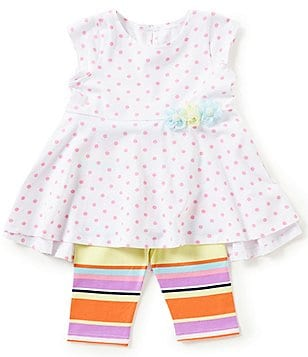 Marmellata Little Girls 2T-6X Dotted High-Low Top & Striped Leggings Set