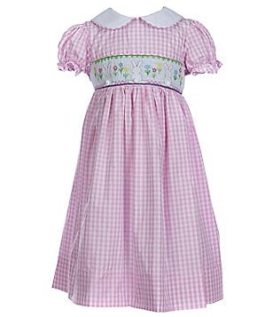 Pippa & Julie Little Girls 4-6X Checked Smocked Easter Bunny Short-Sleeve Dress