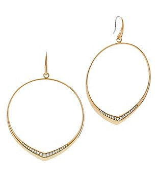 Michael Kors Crystal Pavé Knife-Edge Drop Hoop Earrings