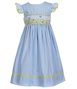 Marmellata Little Girls 4-6X Checked Smocked Dress