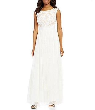 Vince Camuto Sequin Top Tulle Gown