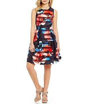 Vince Camuto Jewel Neck Sleeveless Stripe Floral Fit & Flare Dress