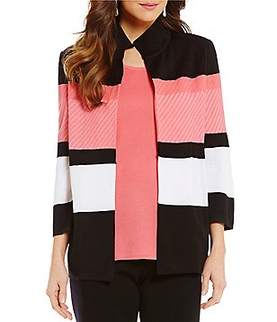Misook Wing Collar Color Block Jacket