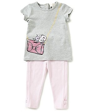 kate spade new york Baby Girls 12-24 Months Graphic-Print Tee and Bow Leggings Set
