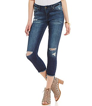 Celebrity Pink Deconstructed Frayed Stepped-Hem Cropped Skinny Jeans