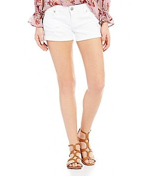Celebrity Pink Destructed Rolled Cuff Stretch Denim Shorts