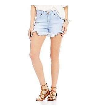Celebrity Pink High Rise Long Frayed Hem Stretch Denim Shorts