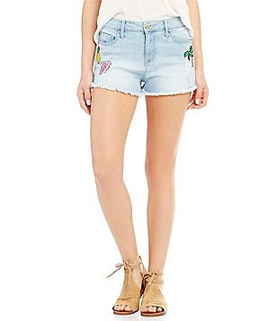 Celebrity Pink High Rise Frayed Hem Patch Distressed Stretch Denim Shorts
