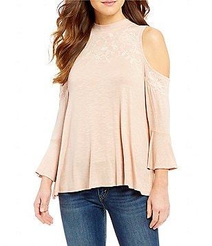 Love on a Hanger Embroidered Cold Shoulder Bell-Sleeve Knit Top