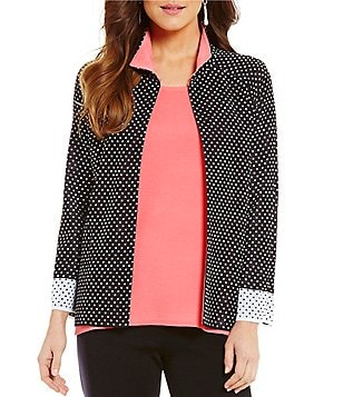 Misook Square-Dotted Hi-Low Jacket