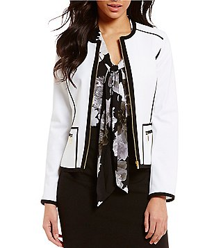 Calvin Klein Petites Luxe Stretch Suiting Contrast Pipe Trim Seamed Jacket