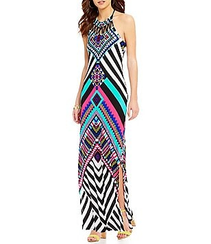 Moa Moa Printed Halter Neck Maxi Dress