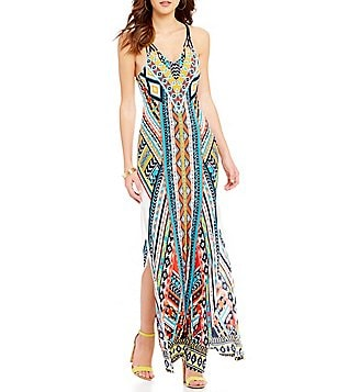 Moa Moa Printed Lattice Back Maxi Dress