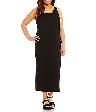 Eileen Fisher Plus Scoop Neck Midi Length Dress