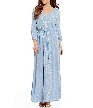 Blu Pepper Embroidered Long-Sleeve V-Neck Maxi Dress